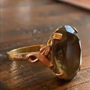Vintage Women's Brown Topaz Glass Gem 10k GF Ring